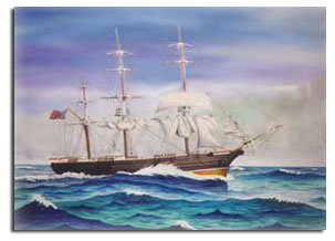Painting of the Isaac Allerton ship.