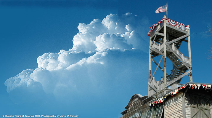 Photo of the lookout tower at the Key West Shipwreck Museum.