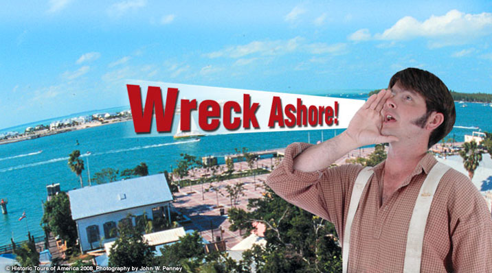 photo of the man on top of the key west shipwreck museum tower