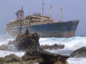 A picture of the SS American Star on the shore of Fuerteventura.