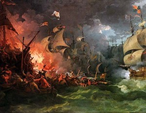 The English confrontation of the Spanish Armada.