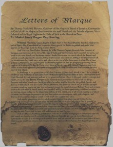 A letter of marque for Henry Morgan in 1699. He was an Admiral of the English Royal Navy and a successful privateer!